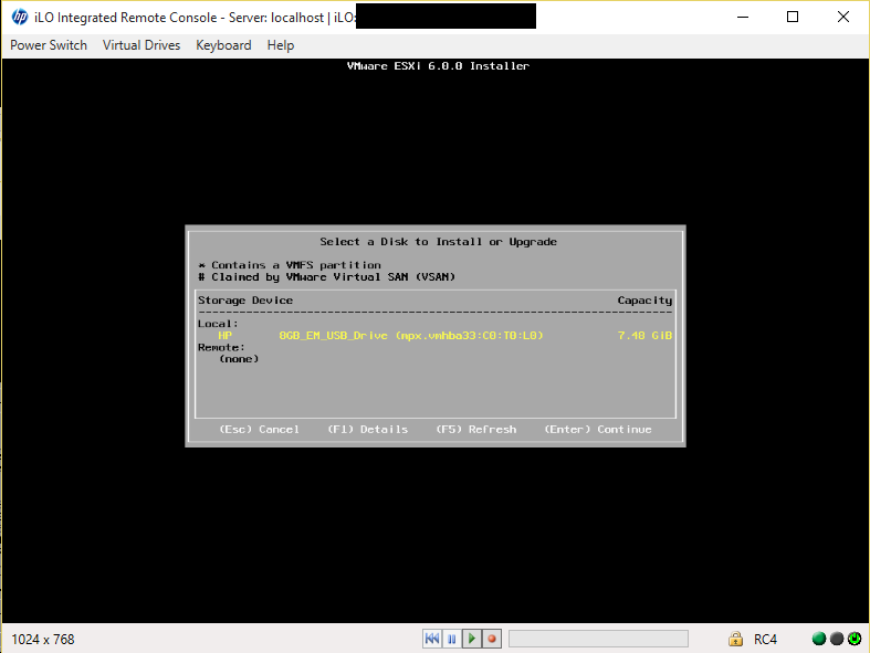 ESXi Installer Select Install Drive
