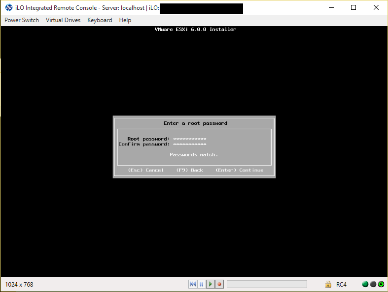 ESXi Installer Set Root Password