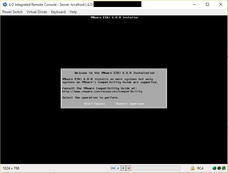 ESXi Installer Welcome