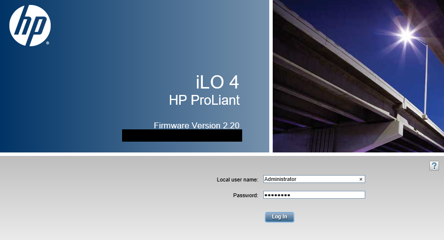 HP iLO Login
